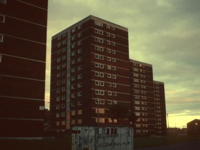 View of 13-storey blocks on Upton Estate