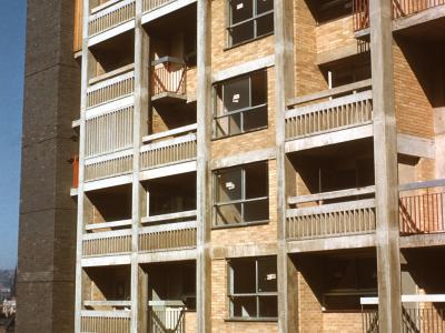 View of block on Park Hill Estate under construction