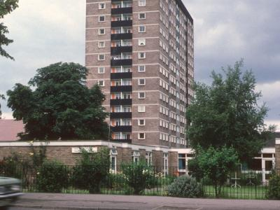 View of 15-storey block on Lindsey Place