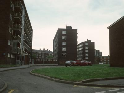 View of 6-storey blocks on Porter Street from St Luke's Street