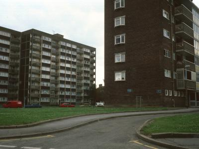 View of rear of Melville Street flats with 6-storey block in foreground