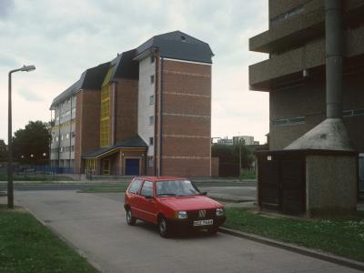 View of refurbished 6-storey blocks in Residential Area 17