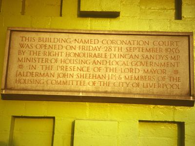 Plaque commemorating opening of Coronation Court