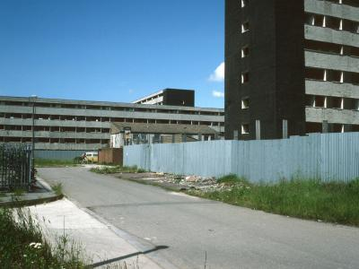 General view of 8-storey and low-rise blocks in Netherley