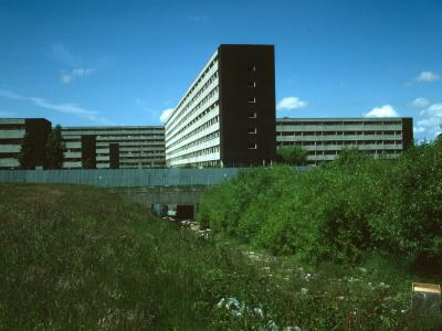 View of 8-storey block in last surviving section of Netherley development