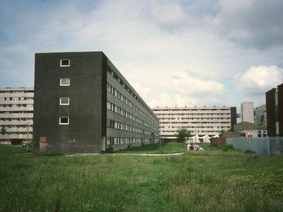 View of 8-storey blocks in Netherley with low-rise block in foreground