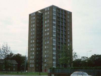 View of 15-storey block on Cherry Avenue