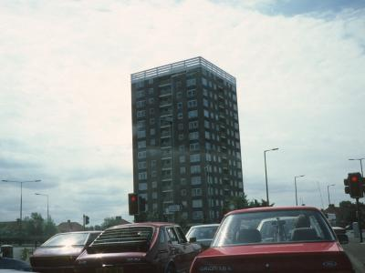 View of 15-storey block on Stockmoor Road