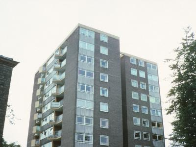 View of 11-storey block on Menlove Avenue