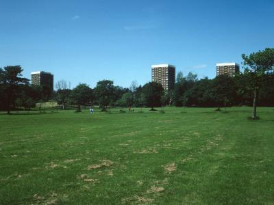 View of 15-storey blocks on Mossley Hill Drive from Sefton Park