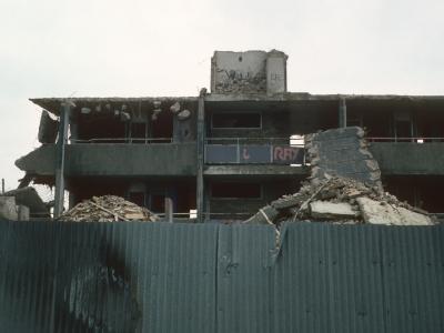 View of The Piggeries undergoing demolition