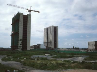 View of 22-storey blocks on Cantril Farm Estate