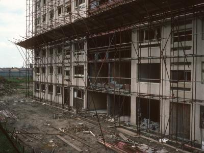 View of 22-storey block on Cantril Farm Estate