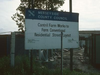 View of signage on Cantril Farm Estate