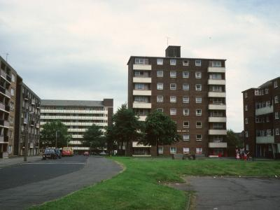 View of Bainford House with 6-storey block to left of image and 8-storey block in background