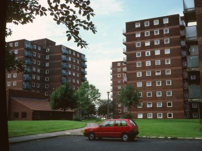 View of 10-storey blocks on Enfield Close and Cawdor Street