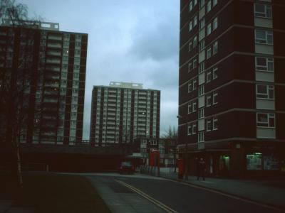 View of 16-storey blocks on Mottram Street redevelopment