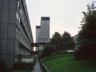 View of Pendlebury Towers and Hanover Towers with Stonemill Terrace in foreground