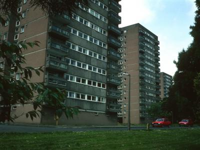 View of 15-storey blocks on Glenwood Row