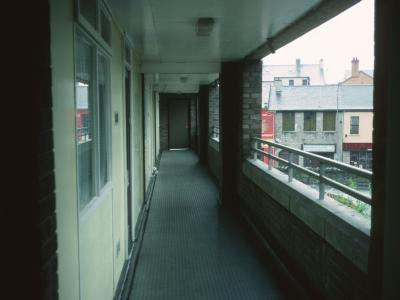 View of deck access in 7-storey block on North Street