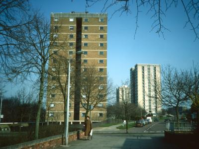 View of High Plash in foreground with Brent Court and Harrow Court in background