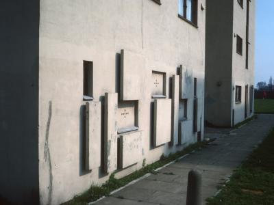 Detail view of 12-storey block in Blackshots Park
