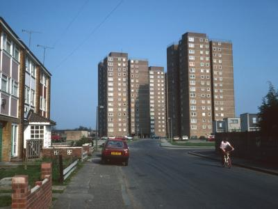 View of 16-storey blocks on Leicester Road