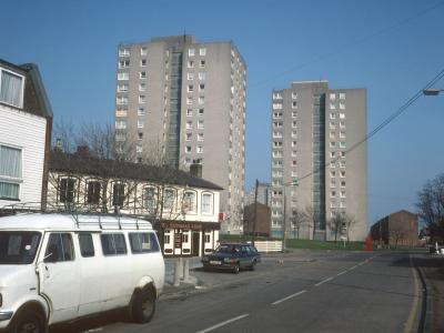 View of 15-storey blocks on Grays South redevelopment