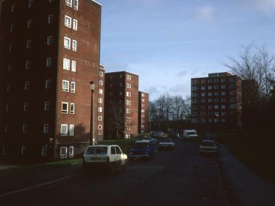View of 8-storey blocks on Winnall Manor Estate