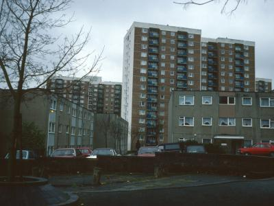 View of Dorset Court, Heswall Court, and Kingsland Court from Essex Close