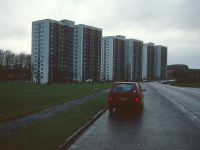 View of 15-storey blocks on Marsh Farm Estate from Wauluds Bank Drive
