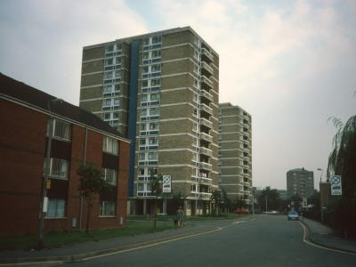 View of Beaumont Court and Claremont Court from Crispin Street