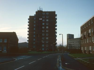 View of 11-storey block on corner of Lagland Street and Old Orchard