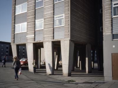 View of lower floors of one of the blocks on Sighthill Temporary Housing Area III