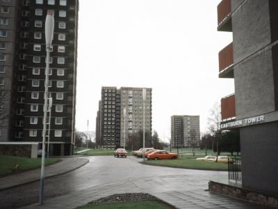 View of Callendar Estate, Phases 1 and 2, with Eastburn Tower on the right