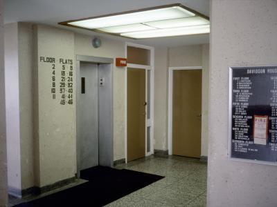 View of corridor and elevator in Davidson House