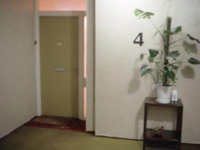 View of hallway and door inside one of Hazlehead I blocks