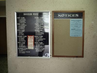 Building information and noticeboard for Davidson House