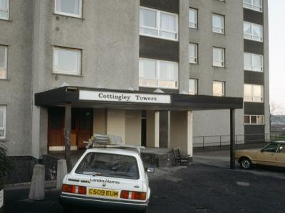 View of ground floor entrance to Cottingley Towers