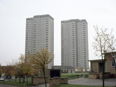 View of Cottingley Heights (left) and Cottingley Towers (right) from the west