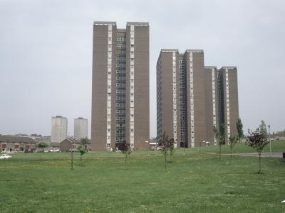 View of Ebor Gardens development from the South, with Scargill Grange, Gargrave Court and Brignall Croft (l-r)