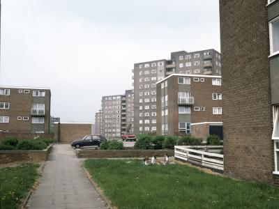 View of Lincoln Green Estate with low rise housing in foreground