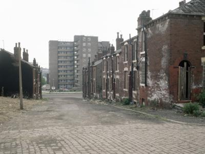 View of Lincoln Green Estate, with boarded up houses in foreground