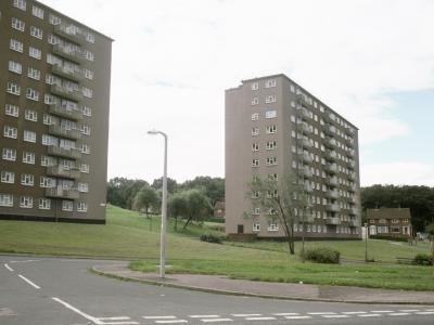 View of Clayton Court (left) and Clayton Grange (right) from the northewst