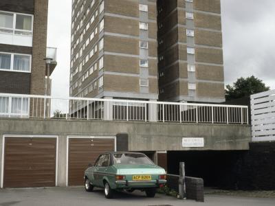 View of garages beneath Marlborough Towers