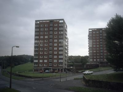 View of Barncroft Court (left) and Barncroft Grange (right) from the west