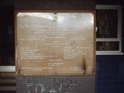Plaque commemorating the 1966 completion of Wortley Heights