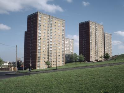 View of Oatland Court and Oatland Towers in foreground