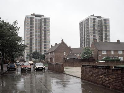 View of Pandon Court (left) and Lort House (right) from the east