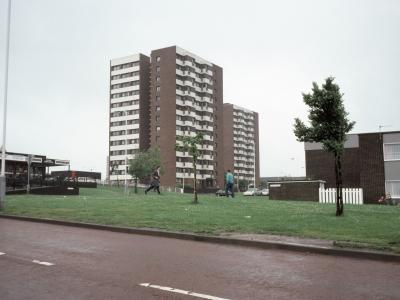 View of Barford Court (foreground) and Stretford Court from northeast